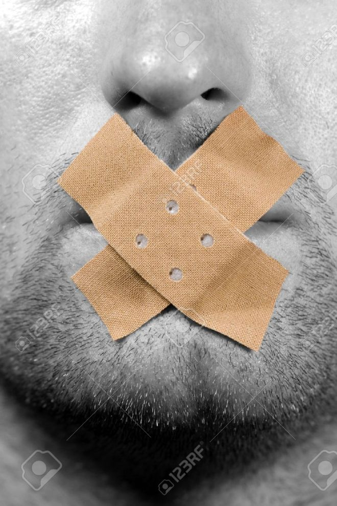 11943889-Be-quiet-plaster-on-the-mouth-Stock-Photo